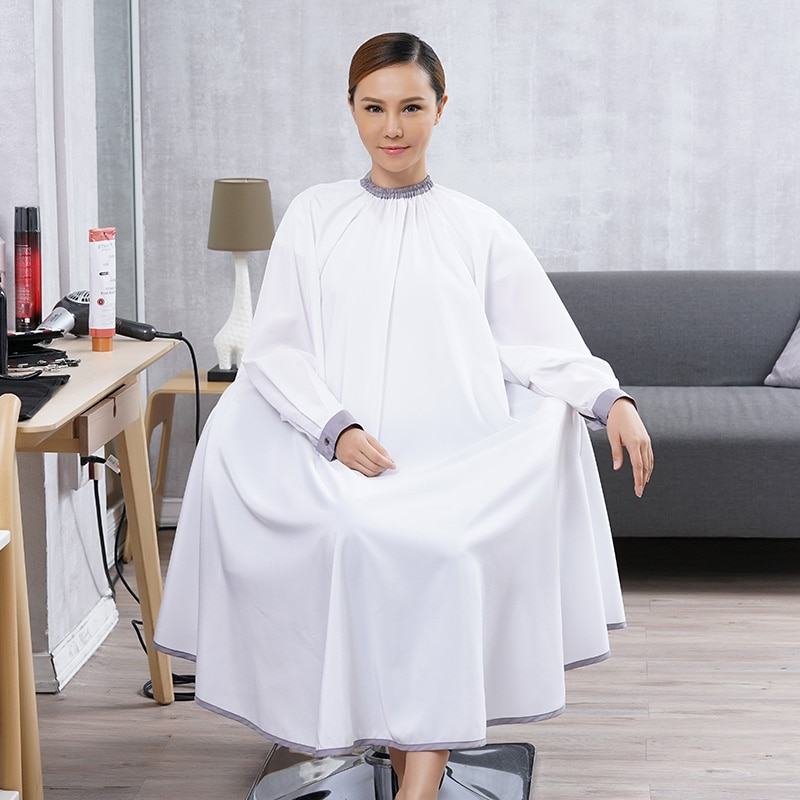 Capa de pelo de manga larga de alta calidad Botón de presión ajustable cuello brazalete impermeable vestido delantal para peluquería salón estilo paño 1264