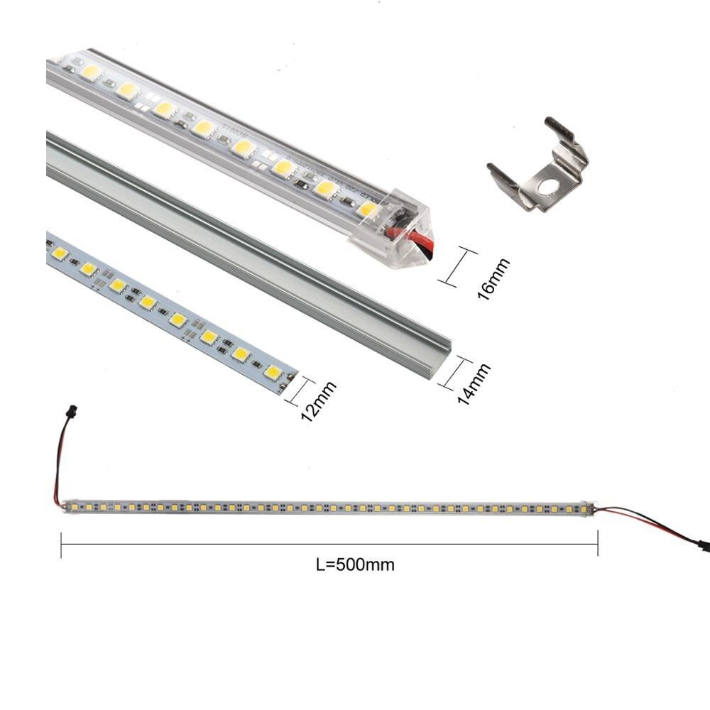 6 uds 50cm DC 12V SMD 5050 36leds U-, tipo rígido tira de luz con forma de barra de aluminio de shell con la Vía Láctea de la cubierta transparente de barra de luz LED