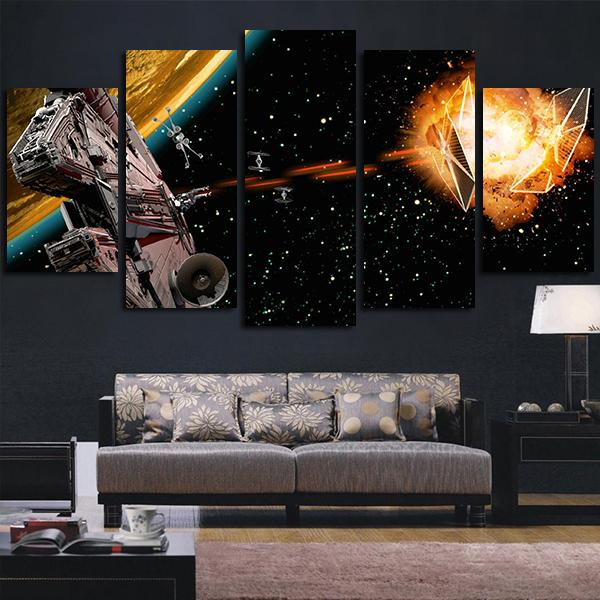 5 paneles Star Wars The Millennium Falcon era un lienzo de Arte de pared de corelia