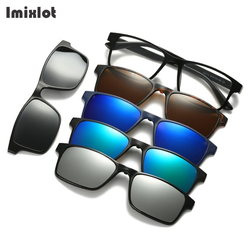 Imixlot 5 unids/set Clip magnético en gafas de sol mujeres hombres polarizados Clip en gafas de conducción gafas imán gafas para miopía con montura