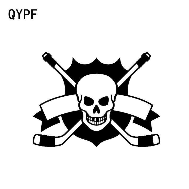 QYPF 14,4*10,6 CM de Hockey esqueleto deporte extremo cráneo gráfico negro/coche plateado Etiqueta de decoración de vinilo C16-0010