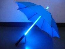 Nuevo Super modernos con estrellas Wars Blade Runner LED sable láser con luz de lluvia paraguas de protección solar con Mini antorcha de luz colorida