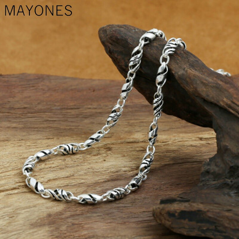 5mm width S925 Sterling Silver Retro Thai Silver Vintage Style Custom Extension Twisted Bamboo Handmade Necklace Men And Women