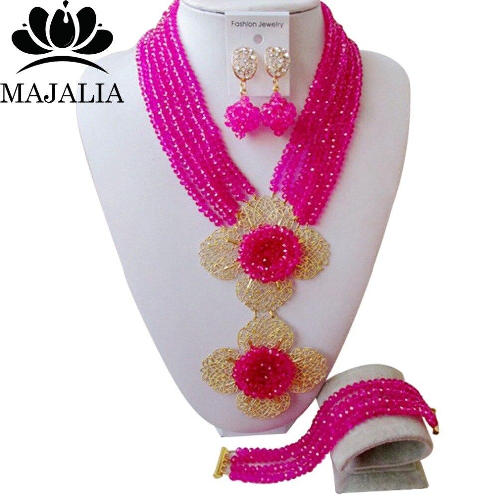 Majalia, conjunto de joyas de cristal africano rosa de lujo, conjunto de joyas de novia, conjunto de joyas de boda nigeriana, envío gratis 6DI004