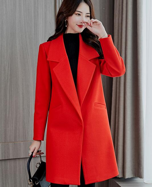 Abrigo coreano holgado de mezcla de lana de manga larga con cuello vuelto prendas de vestir chaqueta Casual Otoño Invierno rojo negro elegante abrigo