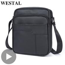 Westal hombro mensajero mujeres hombres bolso maletín de cuero genuino oficina trabajo de negocios para bolso hombre mujer Portafolio Retro