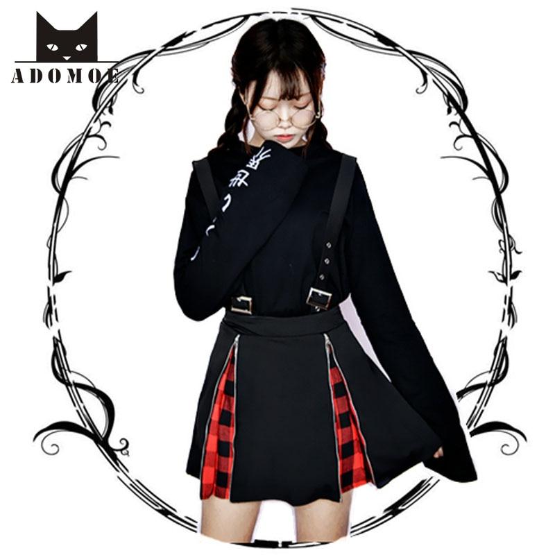 Faldas de cintura alta con cremallera para mujer, faldas japonesas oscuras para chica, falda acampanada negra Vintage gótica Punk Lolita roja para chica