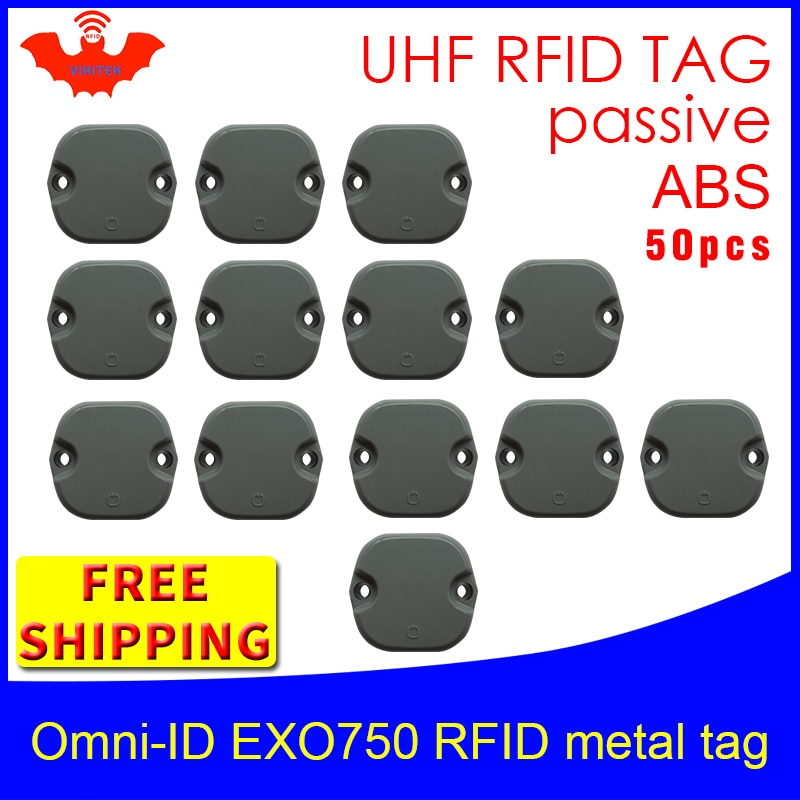 UHF RFID anti-metal tag omni-ID EXO 750 915m 868m Impinj Monza4QT 50pcs free shipping durable ABS smart card passive RFID tags
