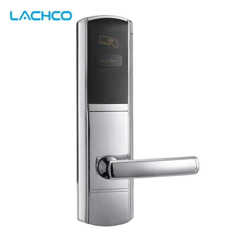 Lachco bloqueio de cartão digital fechadura da porta eletrônica para casa hotel escritório quarto nos mortise liga zinco l16048bs