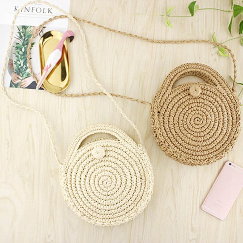 Mini bolso de playa de cuerda de papel redonda FGGS, bolso cruzado de paja hecho a mano Vintage de verano, bolso de mimbre circular para niñas, pequeño hombro bohemio