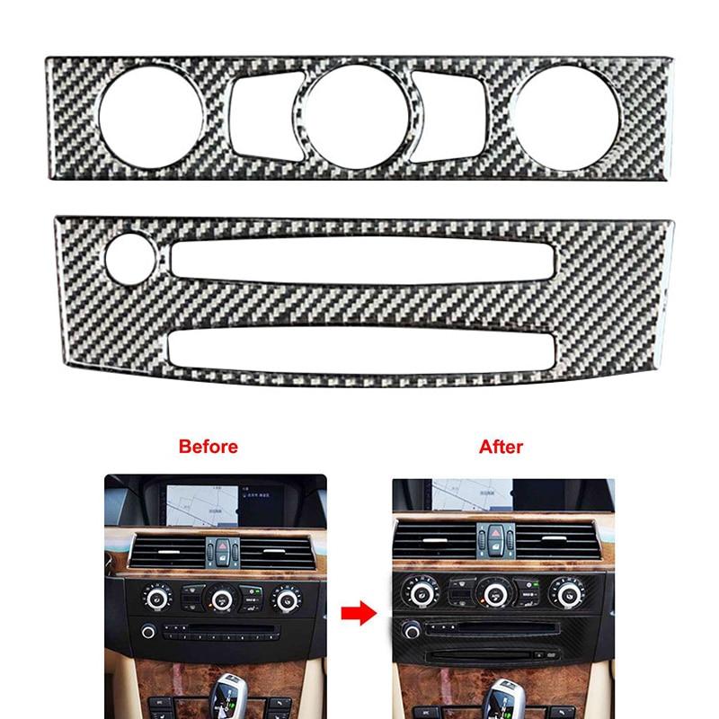 De fibra de carbono Dual CD y Panel de CA pegatina de cubierta embellecedora para BMW serie 5 E60 525i 528i 530i 535i 550i 2004-2007