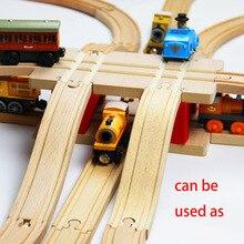 ملحقات مسار القطار الخشبي لجسر دوار أحمر 22.2*13*7.8 سنتيمتر قطار لعبة قطار خشبي لعبة قطار من الخشب