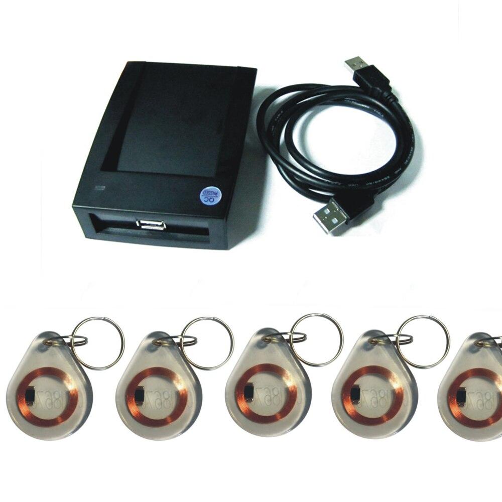 Venta al por mayor formato de salida de 15 estilos Puerto USB 125KHz EM4100 lector RFID de proximidad/lector de tarjetas VIP + 5 etiquetas clave + (software de configuración)