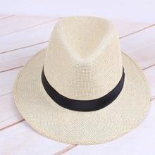 Men Straw Panama Hat Handmade Cowboy Cap Summer Beach Travel Sunhat LXH