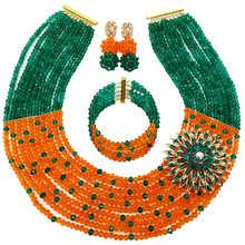 Conjunto de joyería africana con cuentas de cristal naranja verde azulado a la moda, conjunto de collar de boda nigeriano, juego de cuentas 10C-SZ38