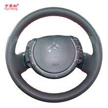 Kunstmatige Lederen Auto Stuurwiel Covers Case voor Citroen C-Quatre 2009-2011 C4 C-Triomphe Zwart