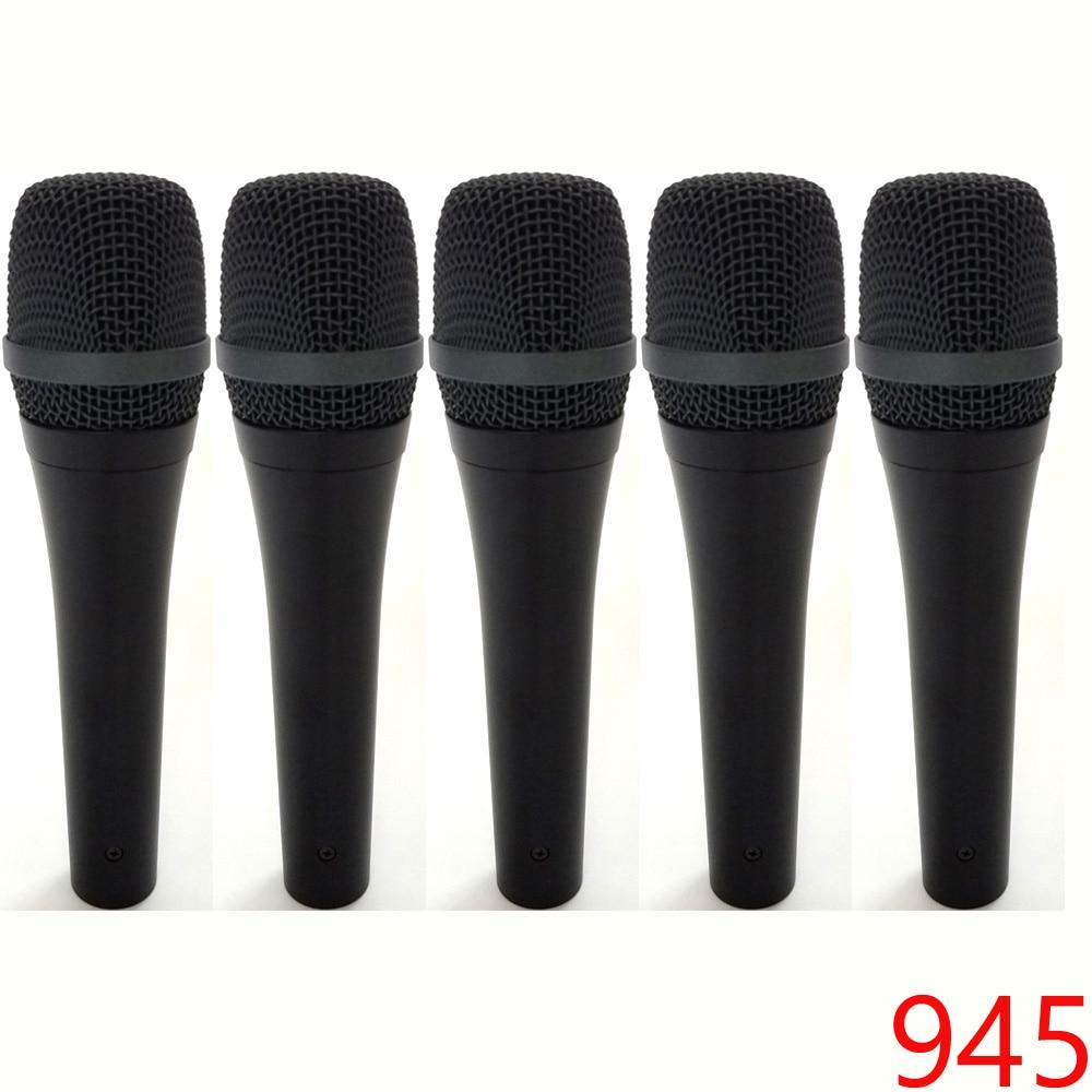 5 peças 945 Dinâmico Super-cardióide Microfone Com Fio sistemas de karaoke Microfone Mike Mic Fio do Microfone Microfono Estúdio Fase
