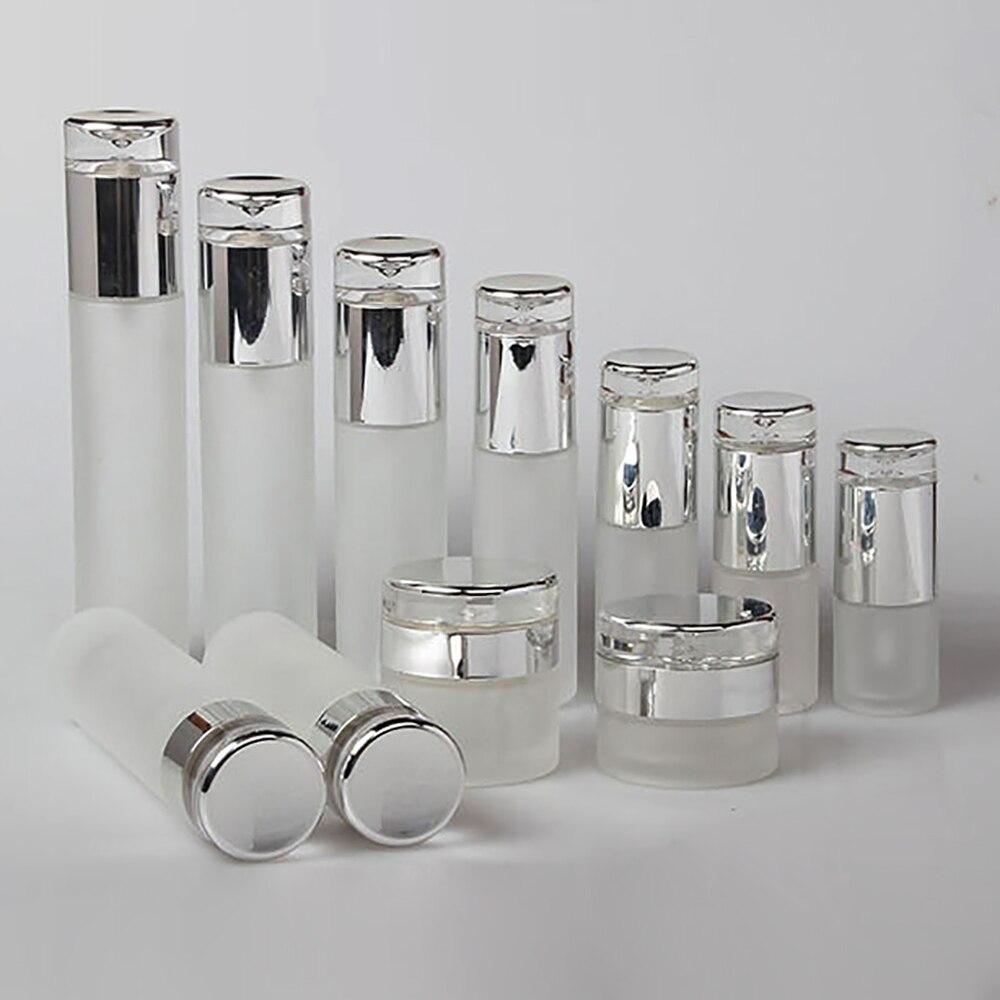 100 Uds botella de vidrio esmerilado 60ml viaje envase cosmético para perfume con bomba de spray, botella de vidrio de loción de 2 oz para la venta