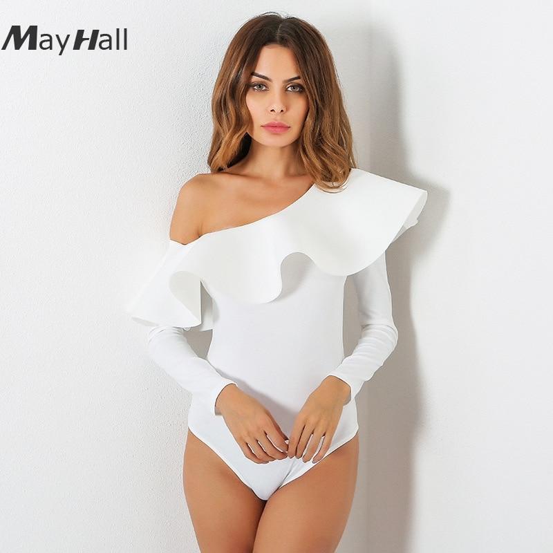 MayHall 2018  Summer New Ruffles Slash Neck Bodysuit Women Long Sleeve One shoulder jumpsuit Women Rompers  3 colors MH120