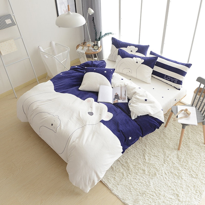 IvaRose Cartoon Polar bear winter warm Cashmere bedding set thick duvet cover Twin Queen size 4/6pcs comforter sets