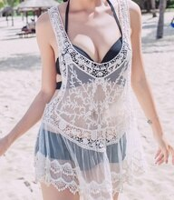 Hot New Women Lace Tunic Sexy Swimsuit Bikinis Smock Cover Up Cotton Blouse Pareo Sweet Lady Beach Swimwear Smock Sarongs Tunic