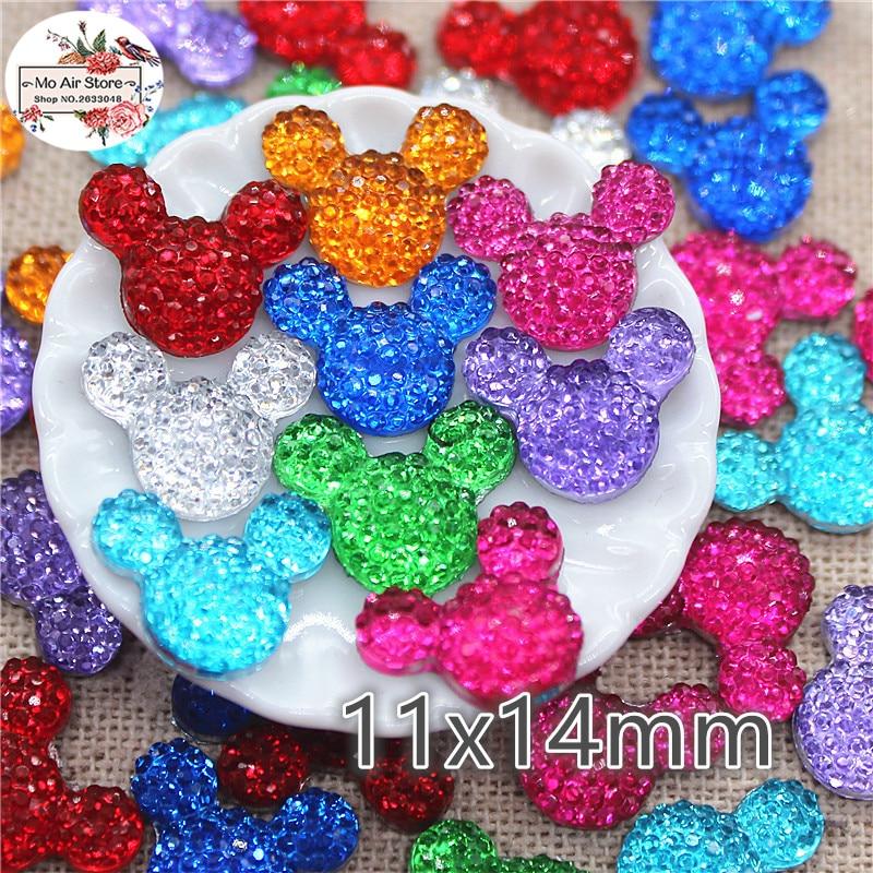 100pcs shiny multicolor mouse Acrylic rhinestone Flat back Cabochon Art Supply Decoration Charm Craft hair bow center