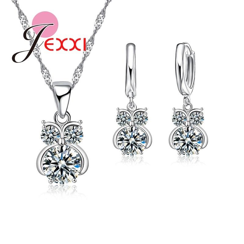 Moda crescente amor flor design cúbico zircão colar de cristal brincos pendentes para mulher s925 prata esterlina colorjewelry conjunto