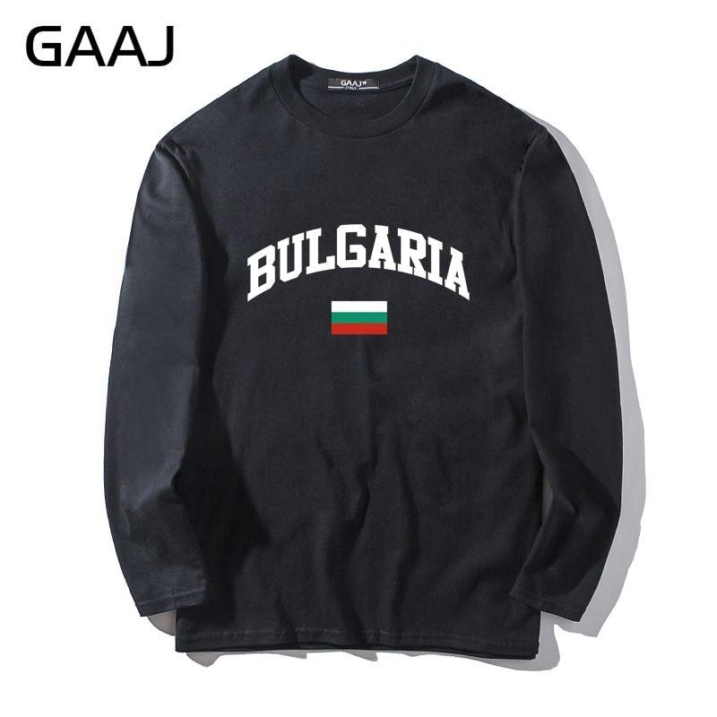 Мужская футболка GAAJ Bulgaria Flag в стиле хип-хоп, мужская и женская Повседневная футболка унисекс с длинным рукавом и круглым вырезом, мужская повседневная футболка с круглым вырезом # U3Z85