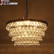 ZYY E14 * 11 Hoofd Amerikaanse Land Retro Iron Kroonluchter Kristal Plafondlamp Dia 45 * L40cm Voor Behuizing Eetkamer Villa Hotel