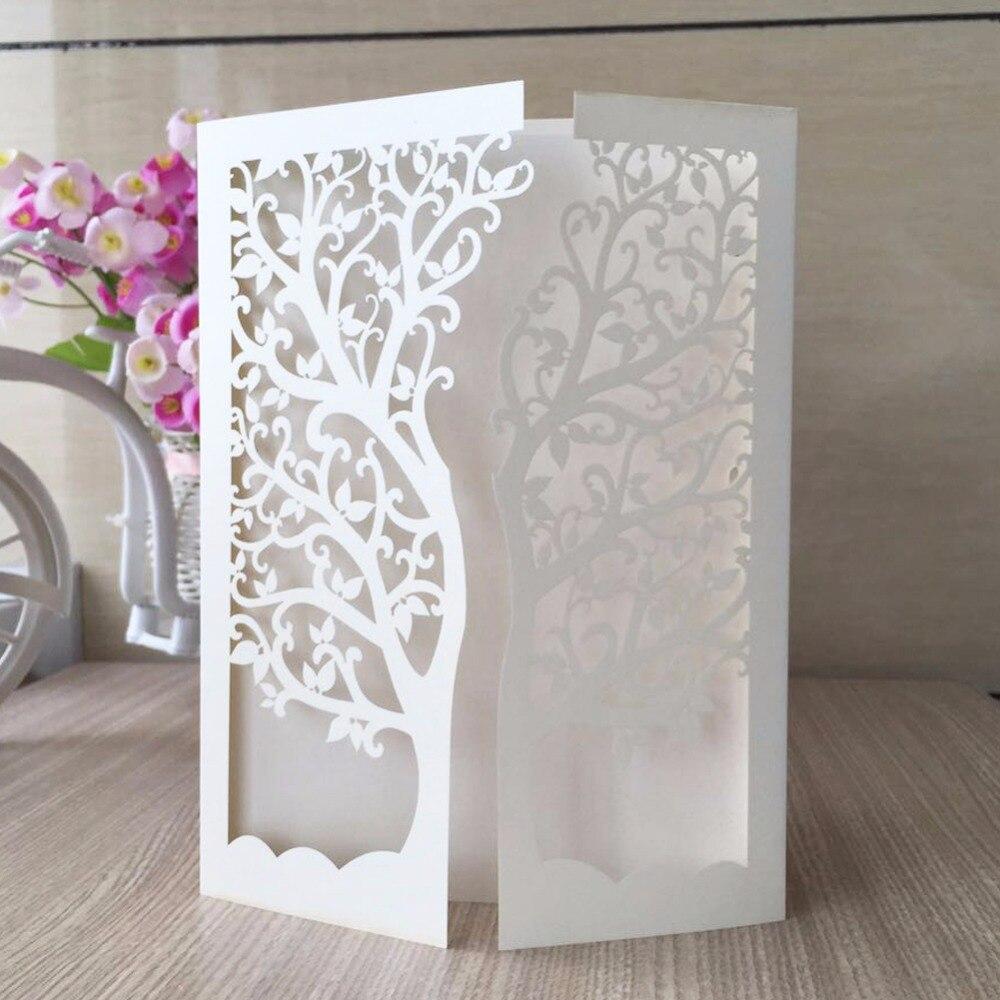 50/Uds. Tarjeta de invitación de fiesta de boda tarjetas de lugar de boda última invitación Tarjeta de corte por láser árbol con dos pliegues diseño de árbol QJ-26