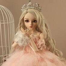 BJD 1/3 boule articulée poupée cadeaux pour fille peint à la main maquillage fullset Lolita/princesse poupée avec robe de mariée rose cerise