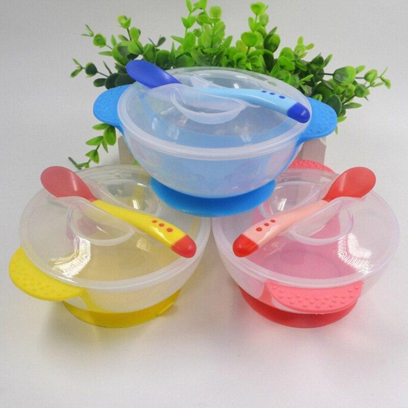 Criança do bebê crianças tampa de alimentação tigela de treinamento com colher dos desenhos animados binaural utensílios de mesa de alimentação do bebê crianças placa otário tigela