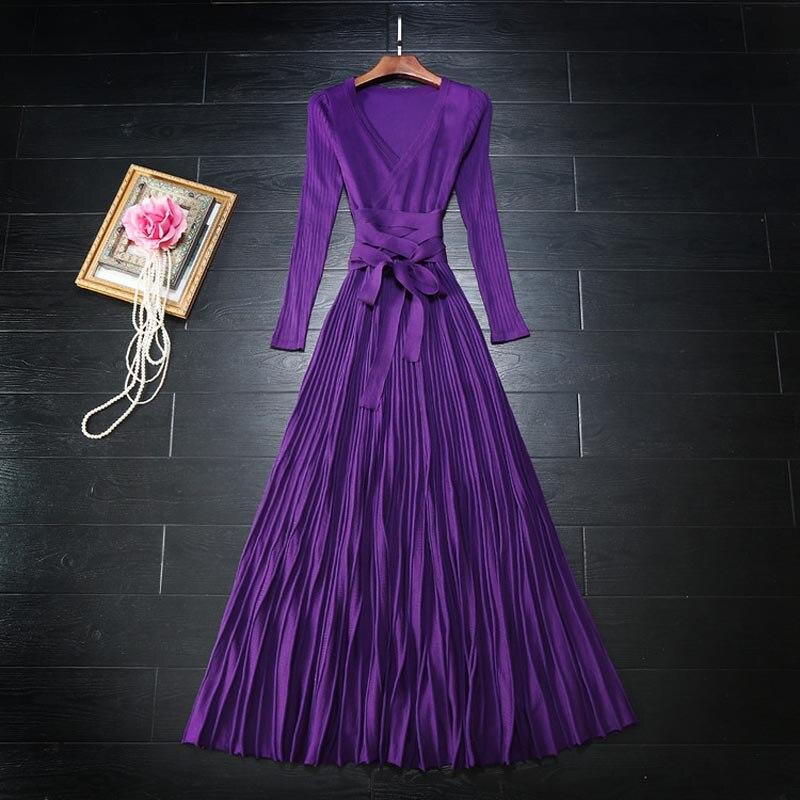 HIGH QUALITY Newest 2017 Fashion Designer Maxi Dress Womens Long Sleeve V-neck Casual Knitting Long Dress