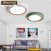 Qiseyuncai Nordic macaron style ultra-thin ceiling lamp modern minimalist living room log warm bedroom lamp free shipping