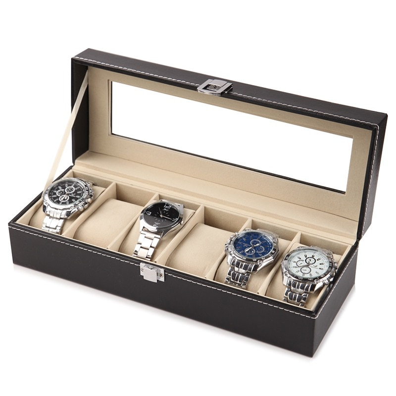 2/6/10/12 Slots Leather Watch Storage Box Organizer New Mechanical Mens Watch Display Holder Cases B
