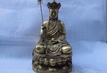 Lied voge gem S0754 16 Tibet Boeddhisme Tempel Verfijnd Messing Koper Jizo Rohan Monnik Boeddhabeeld