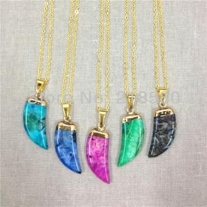 H-QN51 Mix  Agat Horn Tusk  Pendant Necklace Gold Color