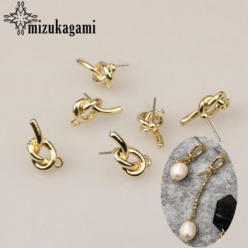 Zinc Alloy Golden Metal 3D Simple Knot Earrings Base Connectors Linkers 9*16mm 6pcs/lot For DIY Jewelry Accessories