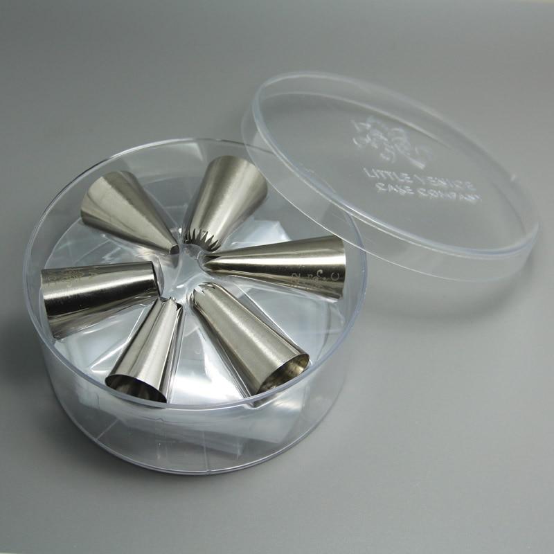 (6set/lot)Free Shipping FDA High Quality Stainless Steel 6pcs Medium Cake Decorating Cupcake Nozzles Kit