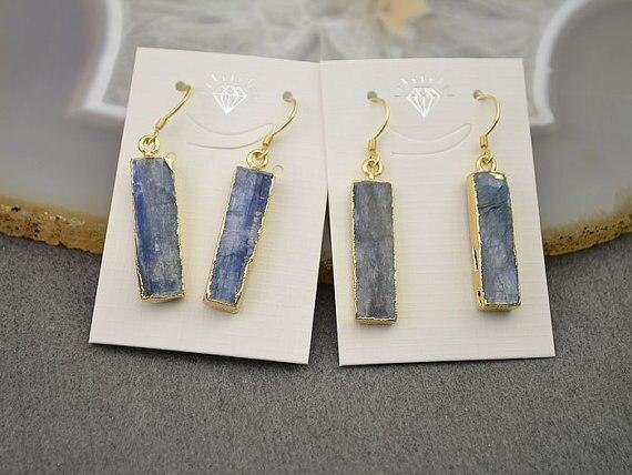 WT-E153Hot venta oro kyanite pendientes 24 k oro bisel conjunto kyanite pendientes facetados azul medianoche pendientes