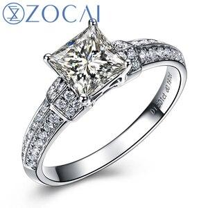 ZOCAI принцесса резать настоящий 1,0 Ct главный алмаз с 0,20 Ct боковой бриллиант 18K белое золото бриллиант W03754