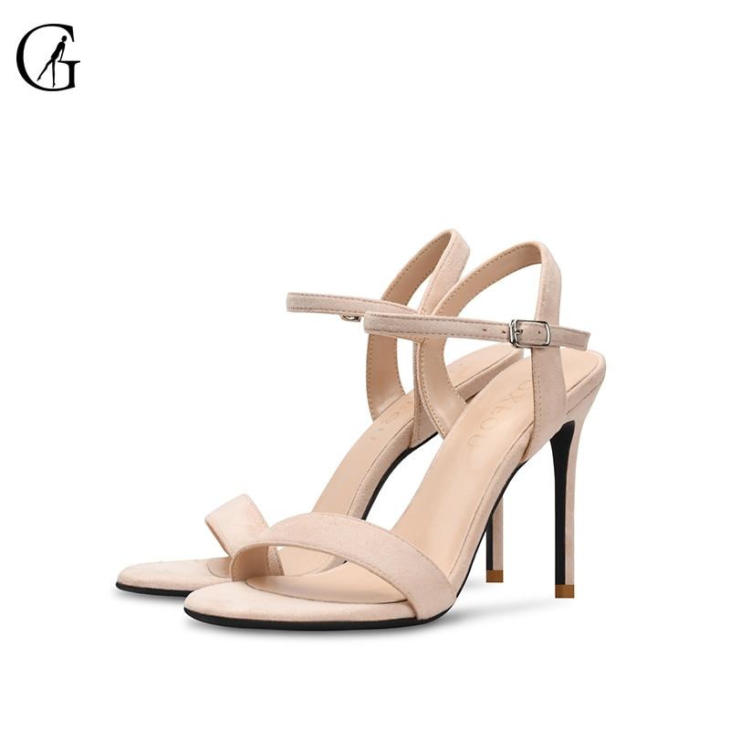 GOXEOU-صندل نسائي مخملي ، حذاء نسائي بكعب عالٍ مع حزام كاحل مخملي ، لون اللحم ، أحمر ، برتقالي ، للحفلات والمكتب ، مقاس 32-46