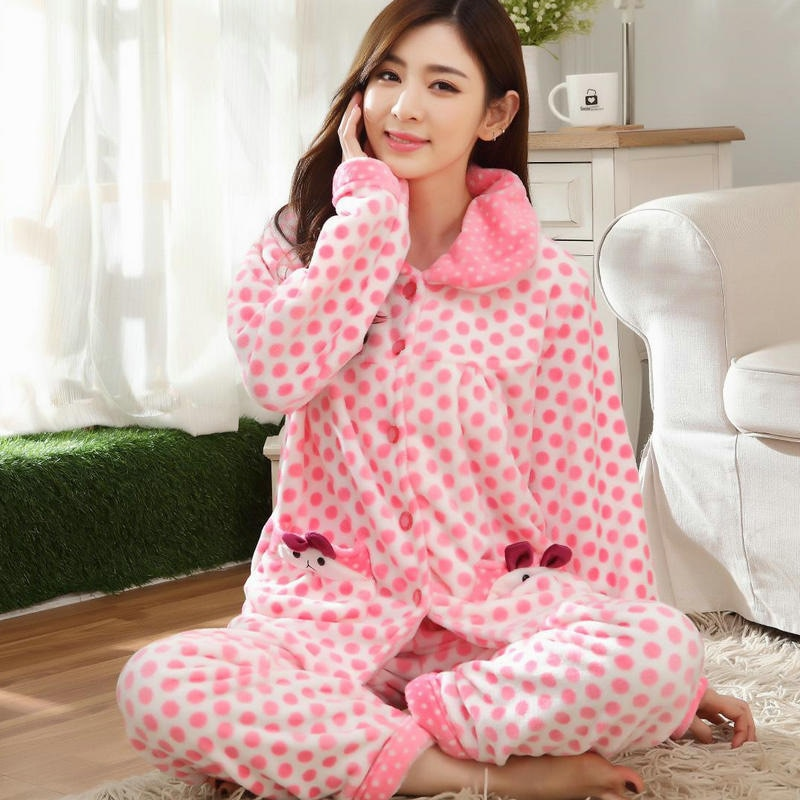 Plus Size 4XL Pyjamas Women Pajamas Set Winter Thick Warm Flannel Sleepwear Suit Nightgown Female Cute Pink Pijama Mujer