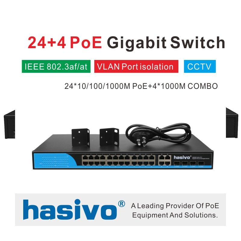 Interruptor POE de 24 puertos con 4 Gigabit SFP COMBO 24 PoE 4 SFP puertos de fibra Gigbit PoE Ethernet interruptor de red 1000 Mbps de montaje en rack