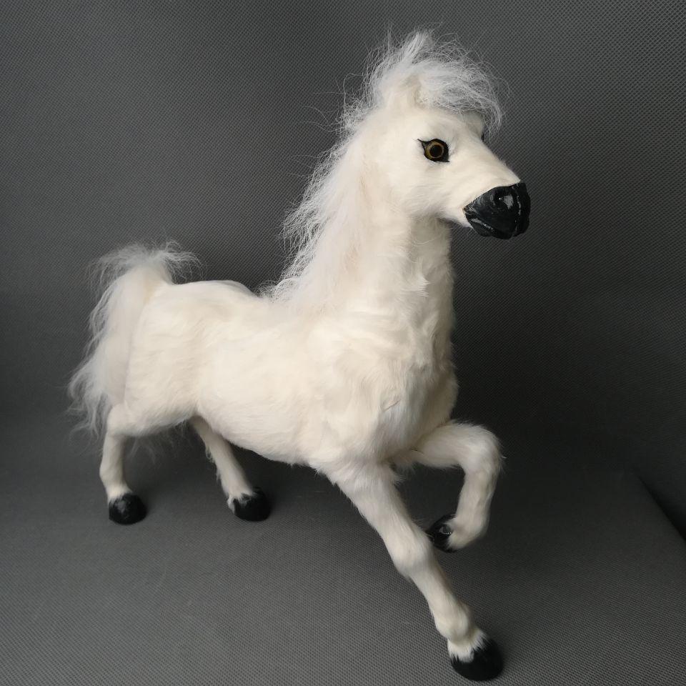 Vida real brinquedo grande 32x30 cm levantar a perna do cavalo branco de polietileno & peles para cima do cavalo modelo de decoração para casa adereços, presente toy d0288