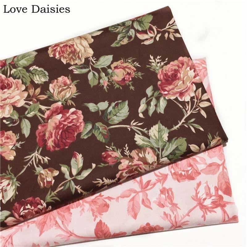 100% cotton twill DARK BROWN PINK Big Fuchsia Flower Floral fabrics for DIY Girl Dress Apparel Patchwork Handwork Bedding decor