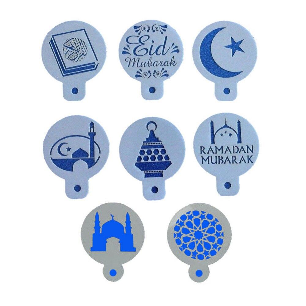 8Pcs/Set Ramadan Eid Mubarak Lamp Design Cake Stencils Baking Cupcake Ramadan Decoration Tools Biscuit Mousse Cake Template