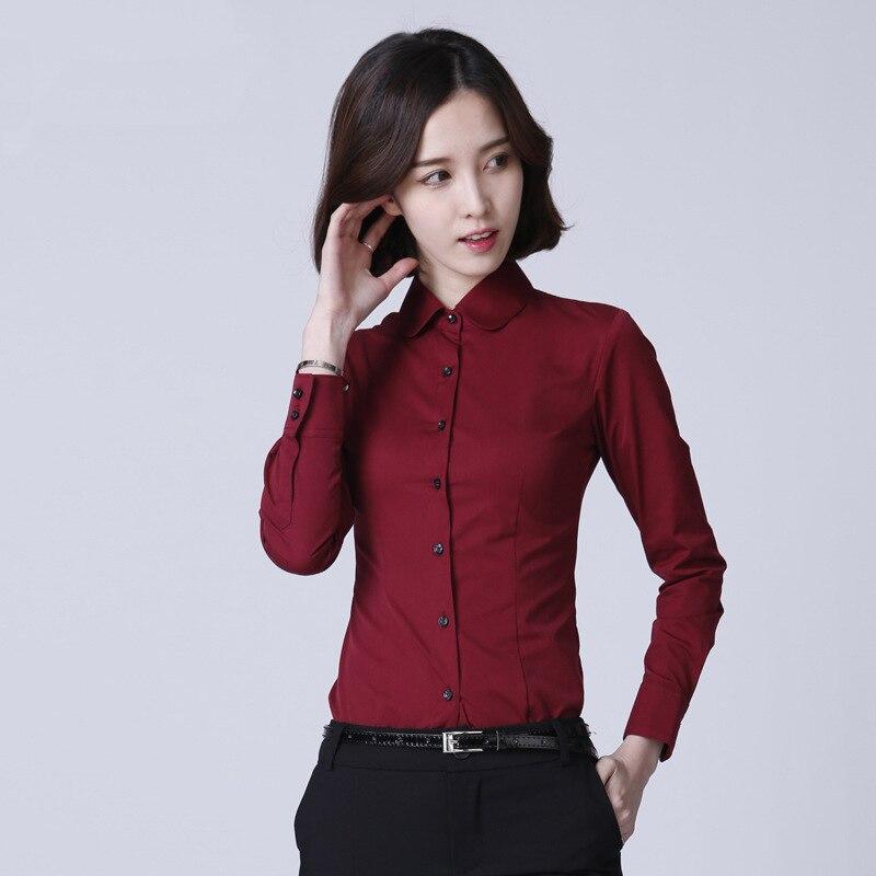 Elegant Blouse Peter pan Collar Shirt Women S-5XL Ladies Office Shirts Formal Cotton Fashion Blusas Femininas
