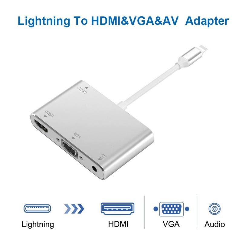 HDTV Cable OTG para Lightning a HDMI VGA 3,5mm Adaptador de Audio adaptador de vídeo para el rayo se extiende HUB para iPhone/iPad de aire/Mini