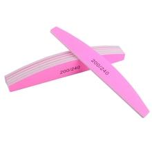10Pcs Pink Nail File 200/240 Sandpaper Buffer Nail Art Sanding Polishing For Manicure Care Tools Beauty Salon Emery Board